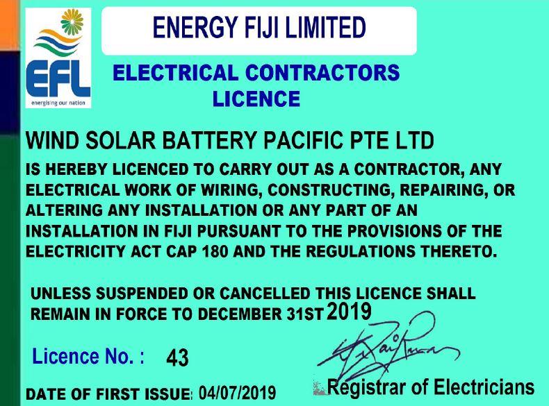 Solar Fiji EFL Contrators License